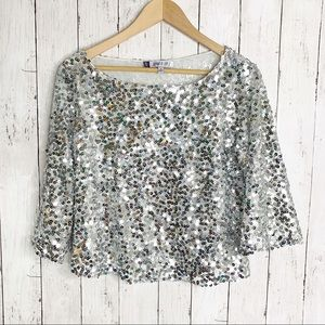 {Jennifer Lopez} Silver Sequins Top - Sparkly!!